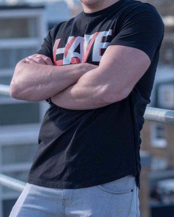 HATE LOVE Long Men's T-Shirt